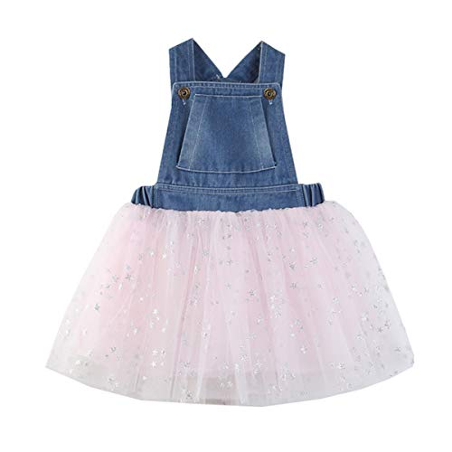 - Toddler Kids Baby Girls Tutu Dress Sleeveless Denim Top Lace Tulle Skirt Princess Outfit Clothes (3T, Pink&Blue)