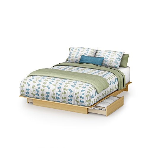 South Shore Platform Bed with Drawers in Natural Maple