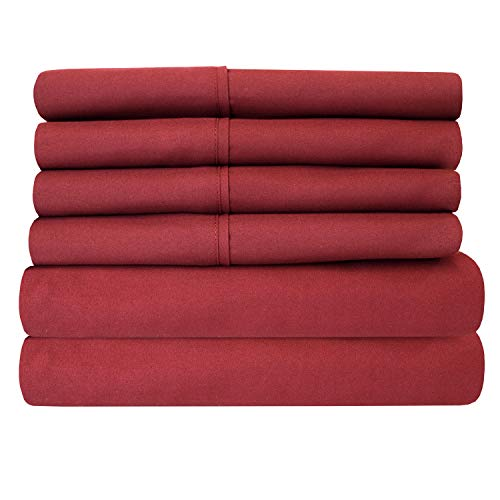 Cal King Size Bed Sheets - 6 Piece 1500 Thread Count Fine Brushed Microfiber Deep Pocket California King Sheet Set Bedding - 2 Extra Pillow Cases, Great Value, California King, Burgundy