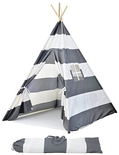 Striped Kids Teepee Tent - Portable Canvas Tent, No Extra Chemicals, Includes Carrying Case (grey) (Mustard House)