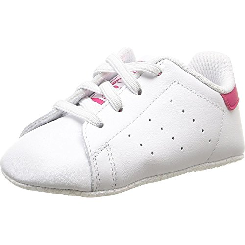 adidas Originals Stan Smith Crib White/Bold Pink Leather 5 M US Infant