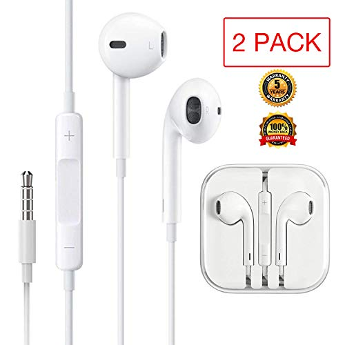Headphones/Earphones/Earbuds, 3.5mm aux Wired Headphones Noise Isolating Earphones Built-in Microphone & Volume Control Compatible iPhone iPod iPad Samsung/Android / MP3 MP4(2PACK)