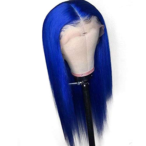 Colored Full Lace Wig Glueless Straight Remy Dark Blue Lace Front Human Hair Wigs With Baby Hair,24Inches,Front Lace Wig -
