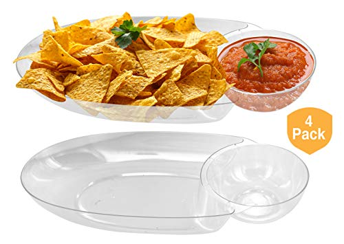 Large Chip & Salsa Dip Tray Dish- for Party 17 x 8 x 2.5 Clear Plastic, Reusable or disposable (4 Pack)