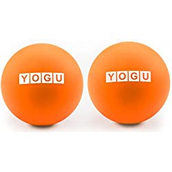 Yogu Massage Lacrosse Balls for Myofascial Release, Trigger Point Therapy, Muscle Knots, and Yoga Therapy. Set of 2 Firm Balls (Orange)