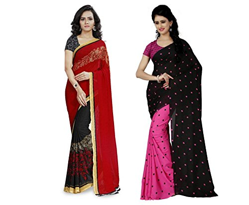 6b017808896 Image Unavailable. Image not available for. Colour  Anand Sarees Women s  Faux Georgette Multi Color Printed Pack Of 2 Saree With Blouse Piece (
