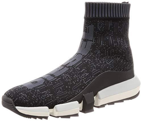 Diesel Men's H-PADOLA Sock-Sneaker mid, Black, 7 M US