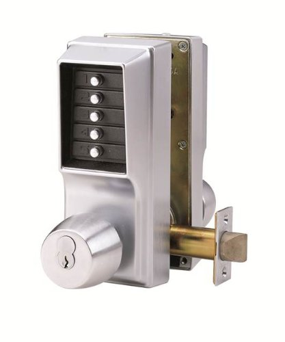 Kaba Simplex Keypad Entry Lock with Key Override, 2.75'' Backset, 0.5'' Throw Latch, Standard ASA Strike Plate, Satin Chrome Finish by Simplex