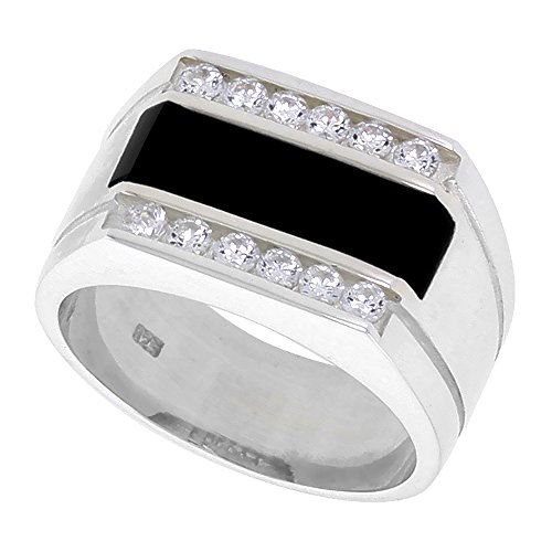Sterling Silver Mens Rectangular Black Onyx Ring 2 Grooves CZ Accent 1/2 inch wide , size 11