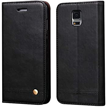 amazon com samsung galaxy s5 case s view flip cover folio, blackgalaxy s5 case,ruihui classic leather wallet book style folding flip protective shock resistant case cover with card slots,kickstand magnetic closure for