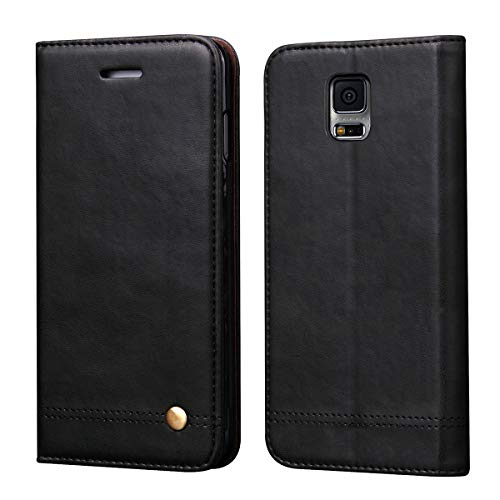 Galaxy S5 Case,RUIHUI Classic Leather Wallet Book Style Folding Flip Protective Shock Resistant Case Cover with Card Slots,Kickstand Magnetic Closure for Samsung Galaxy S5 (Black) (Samsung Cell Phone Cases S5)