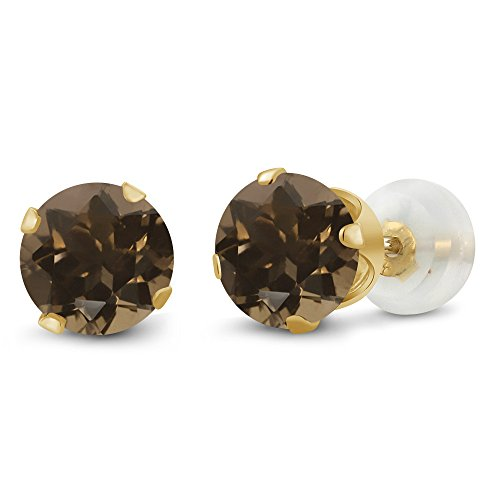 (Gem Stone King 10K Yellow Gold Brown Smoky Quartz Stud Earrings Jewelry 1.60 Cttw Round 6MM)