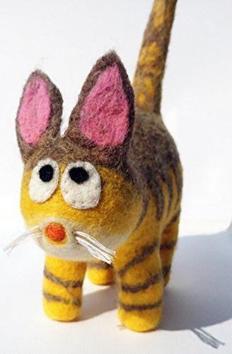 Cute Cat Plush Toy - 100% Handmade with Merino Wool Felt (Yellow Gray)