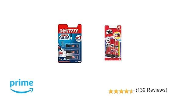 Loctite Super Glue-3 Original Mini Trio, pegamento universal con triple resistencia, adhesivo transparente + Pritt Barra Adhesiva, pegamento infantil ...