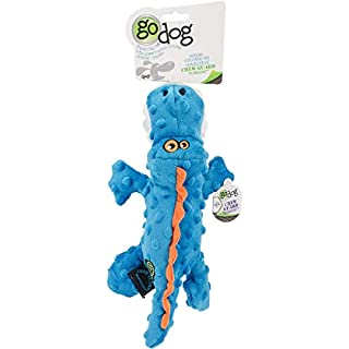 goDog Gators With Chew Guard Technology Tough Plush Dog Toy, Blue, Small