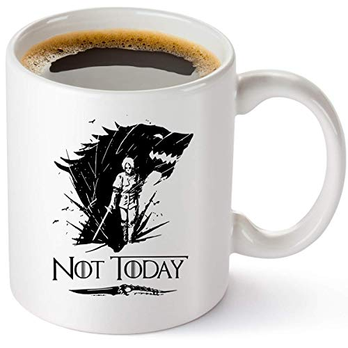 Game Of Thrones Merchandise Mug - Not Today Coffee Mug Arya Stark GOT Cup - Funny Birthday Gifts For Women And Men - House Stark