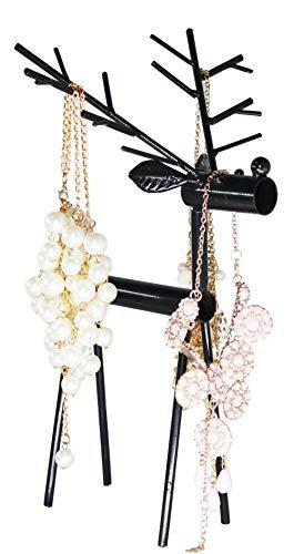 Reindeer Antlers Tabletop Jewelry Organizer and Display, Earring Necklace Storage Hanger Holder Standing, Black