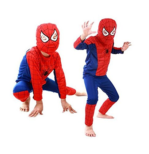LC Boutique Unisex Spiderman Costume Oufit for ages 4 to 10 Years Old, RUN SMALL- ORDER (Spiderman Costume Size 9-10)