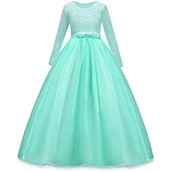 HUANQIUE Girls Lace Pageant Party Dress Wedding Flower Girl Maxi Gowns Long Sleeve Aqua 4-5 T