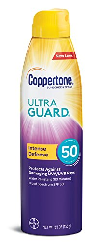 - Coppertone ULTRA GUARD Sunscreen Continuous Spray SPF 50 (5.5 Ounce) (Packaging may vary)