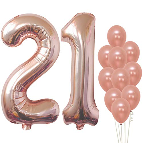 KatchOn Rose Gold 21 Birthday Balloons - Large, Pack of 12 | 21st Birthday Balloons Party Decorations Supplies | Number 2 and 1 Rose Gold Balloons | foil Mylar and Latex Balloons | 21 Year Old