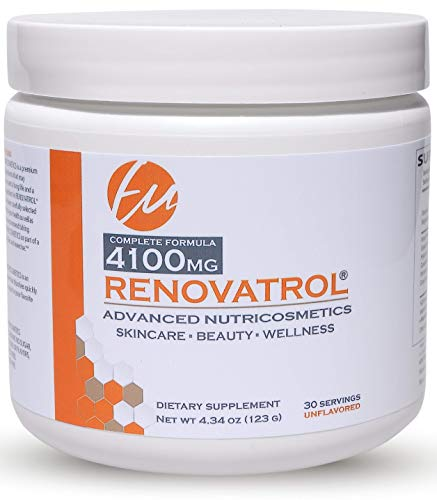 RENOVATROL Advanced NUTRICOSMETICS for Radiant Skin Anti-Aging and Anti-INFLAMATORY Verisol Collagen Peptides, Cavacurmin Curcumin, Resveratrol, Magnesium, CoQ10, Hyaluronic Acid, Grape Seed Extract
