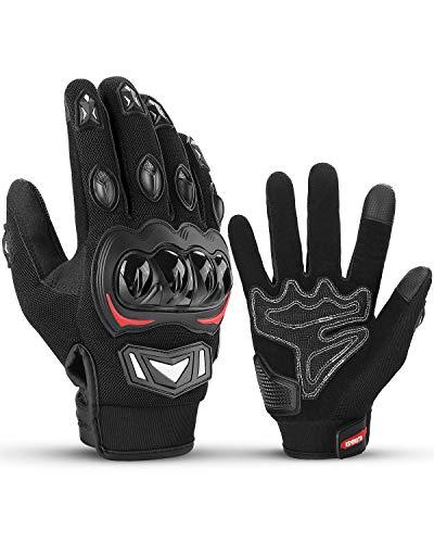 ISSYZONE Motorradhandschuhe, Motorrad Handschuhe Herren mit Hartknöchelschutz, Amtungsaktive Sport Handschuhe für Herren…
