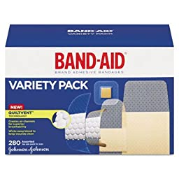 Band Aid Variety Pack, Wet Flex/Sheer, 280/BX, Assorted Size, Sold as 1 Box, 280 Each per Box