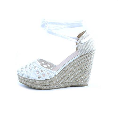 Swish femmes sandales tissées en cuir blanc et fermeture à lacets. Arbre en raphia et en caoutchouc de 11 cm et plateau de 3 cm.