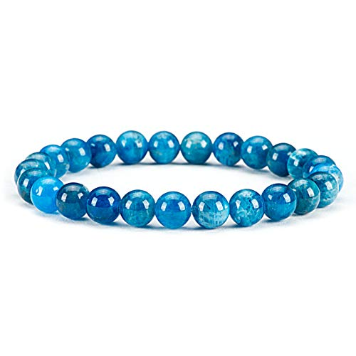 "Cherry Tree Collection Gemstone Beaded Stretch Bracelet 8mm Round Beads 7"" (Apatite)"