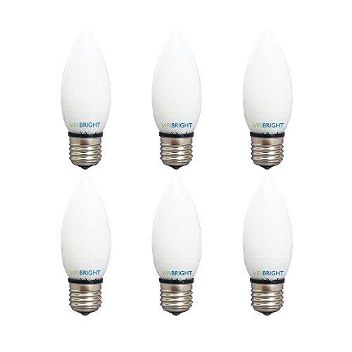 Viribright 74552-6 B10 25 Watt Equivalent Chandelier LED Light Bulb, Frosted Cover Base 2700K, E26 6 Pack, Warm White