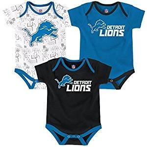 Outerstuff NFL Newborn Playmaker 3 Piece Onesie Set-Lions Blue-6 Months, Detroit -
