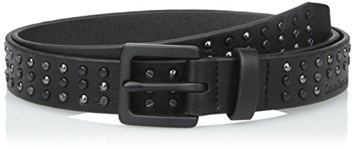 Calvin Klein Women's 25-mm Studded Belt, Winter White/Matte Black, Medium