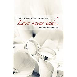 Love Never Ends/Rings Wedding Bulletin (Pkg of 50)