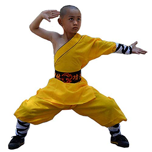 Shaolin Temple Warrior Monk's Robe Chinese Traditional Martial Arts Kung Fu Uniform Buddhist Zen Moine Baggy Pants with Belt (Yellow, Kids-150cm) -