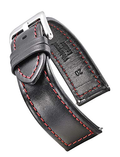 Genuine Waterproof Leather Watch Band with Quick Release Spring Bars - Black Leather Watch Strap 22mm - red Stitching (Leather Watch Band Red)