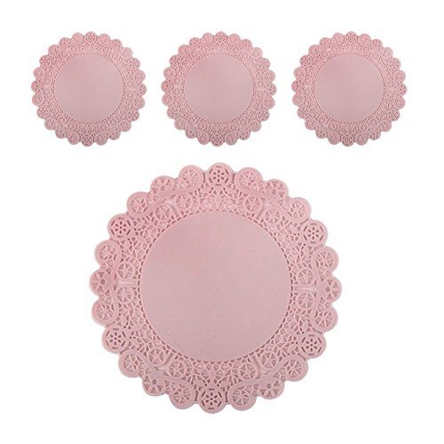 - Lace Silicone Cup and Glass Coaster Mats SET of 4, Non-Slippery Flexible Kitchen Home Design Mat (Pink, 4.3 inches)