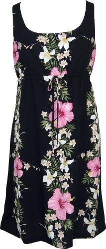 RJC Women's Paradise Lei Empire Tie Front Dress, Black, L