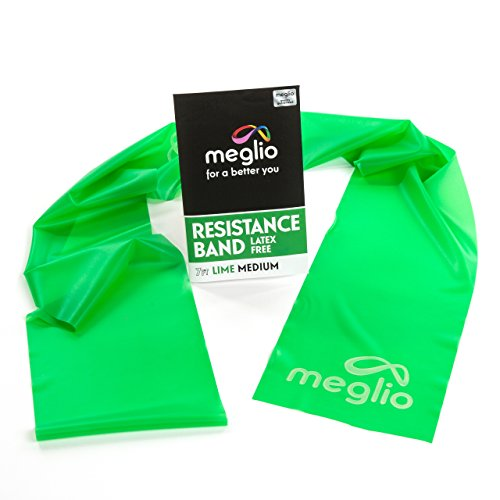 Meglio Latex Free Exercise Bands 7ft. Perfect for Physical Therapy, Strength Training Workouts, Yoga, Pilates, Stretching. Range of Resistance Strengths & FREE Exercise Guide Booklet Included