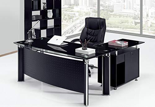 Grupo SDM Mesa Oficina Premium Oval, Mueble a Izquierda, Cristal ...