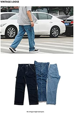41QrZr6bvRS. AC KOCHHA Men's Jeans Big Wide Pants Cotton Relaxed-Fit Carpenter Jean Denim Pants Hip Hop Blue    It can be used as a street item by loosely putting it together as a whole, and it is an item that can be worn around. Wear a shop coat or overshirt with a dull-colored Ron T or short-sleeved T-shirt for a casual look.Wear a big silhouette sweatshirt, sweatshirt, parker or check shirt for an American casual work or outdoor style. Like denim x denim, it is also recommended to match the colors of the tops and bottoms and dress in a setup style.Shoes look great with sneakers and slip-ons, as well as leather shoes like engineer boots and loafers. Excellent compatibility with small items such as caps, sacoches, body bags, and backpacks. You can wear it in unisex regardless of men's or ladies'. (Size XS has a gathered waist with rubber).The product photos are processed so that they are as close to the actual color and size as possible, but please note that the size measurement, the image quality of the PC monitor, and the light environment may differ slightly.