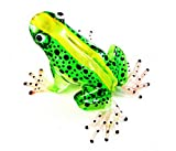 Lampwork COLLECTIBLE MINIATURE HAND BLOWN Art GLASS New Frog, Green FIGURINE by ChangThai Design