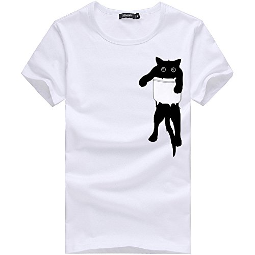 (OrchidAmor Men Printing Tees Soft T Shirts, Cotton White Shirt Short Sleeve T Shirt Blouse)