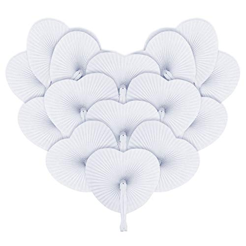 iZoeL Hand Fan White Fan Wedding Handheld Fan Pocket Pan Foldable Folding Gift Summer Occasion, Party, Outdoor Wedding, DIY, Wall Decoration - White Heart Shaped 48 Pack - Heart Shaped Hand Fans