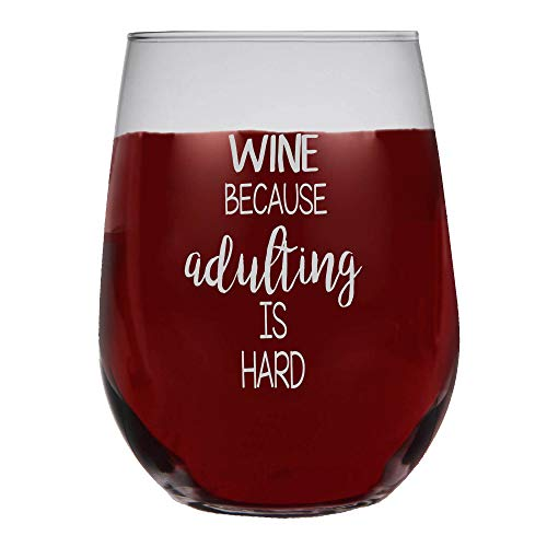 (Shop4Ever Wine Because Adulting is Hard Frost Print Stemless Wine Glass (Frosted Print))