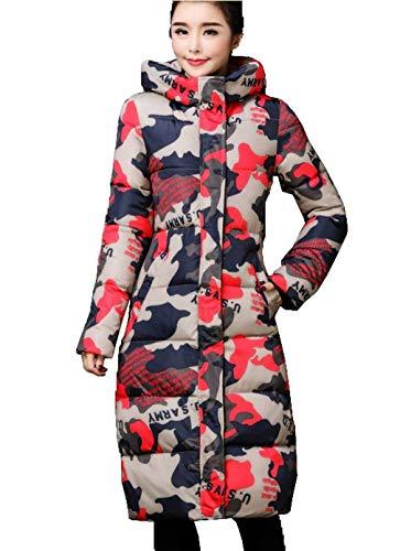 Incappucciato Calda 2 Rot Invernale Fashion Sottile Trapuntata Taglie Giacca Outdoor Trapuntato Grazioso Piumini Giorno Parka Maniche Forti Eleganti Cappotto Lunga Lunghe Donna 9YEIHWD2