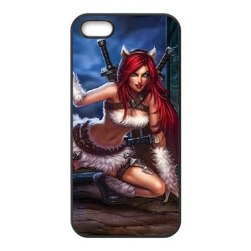 Y3V27 League of legends Katarina J2P8BK coque iPhone 5 5s cellule de cas de téléphone couvercle coque noire KN9TSN2SG