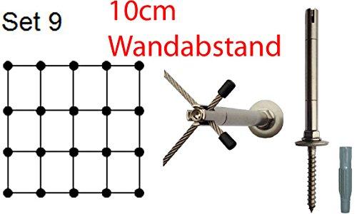 Ø 3mm Edelstahlseil, Rankhilfe 10 - Set 9 - Wandabstand: 10,0 cm, 38 m Edelstahlseil, 20 x Abstandshalter Edelstahl