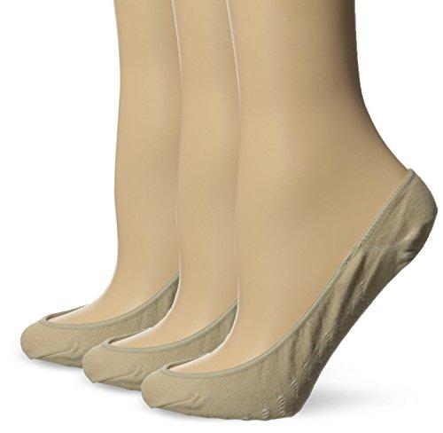 No Nonsense Women's Hidden Liner Sock with Massaging Sole (3-Pack), Nude, 4-10