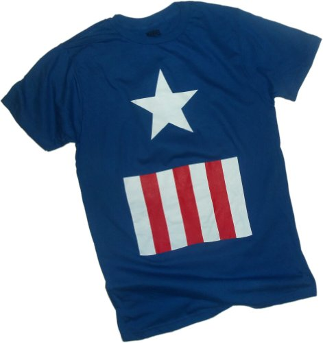 [Uniform -- Captain America T-Shirt, Small] (Captain America Uniform)